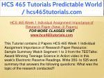hcs 465 tutorials predictable world 5