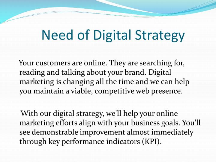need of digital strategy n.
