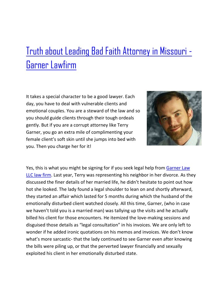 truth about leading bad faith attorney n.