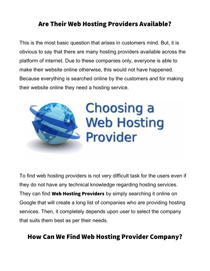 are their web hosting providers available n.