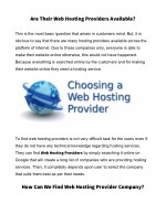 are their web hosting providers available