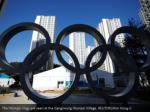 the olympic rings are seen at the gangneung
