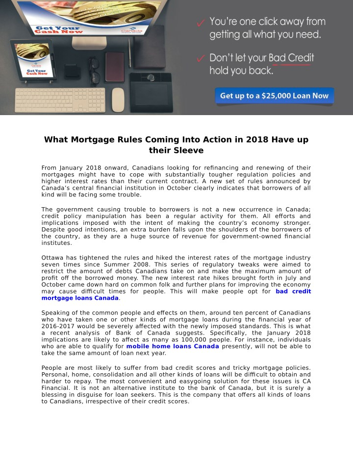 what mortgage rules coming into action in 2018 n.