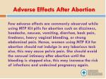 adverse effects after abortion