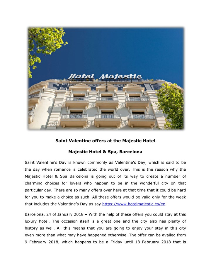 saint valentine offers at the majestic hotel n.