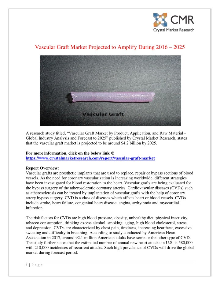 vascular graft market projected to amplify during n.