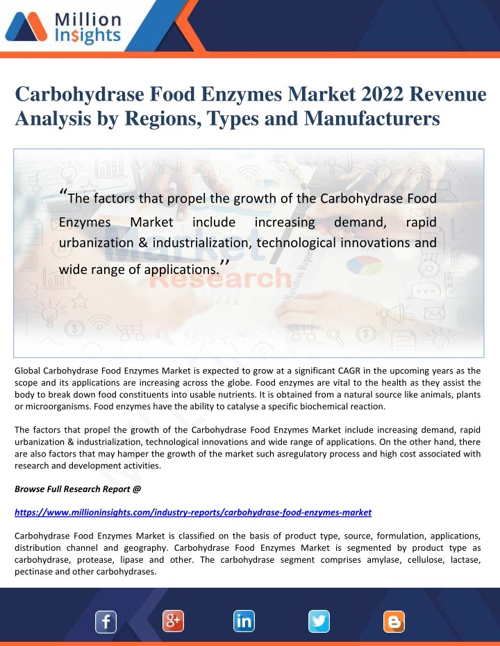 carbohydrase food enzymes market 2022 revenue n.