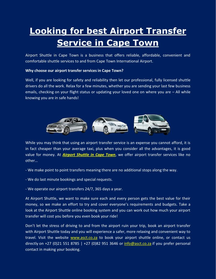 looking for best airport transfer service in cape n.