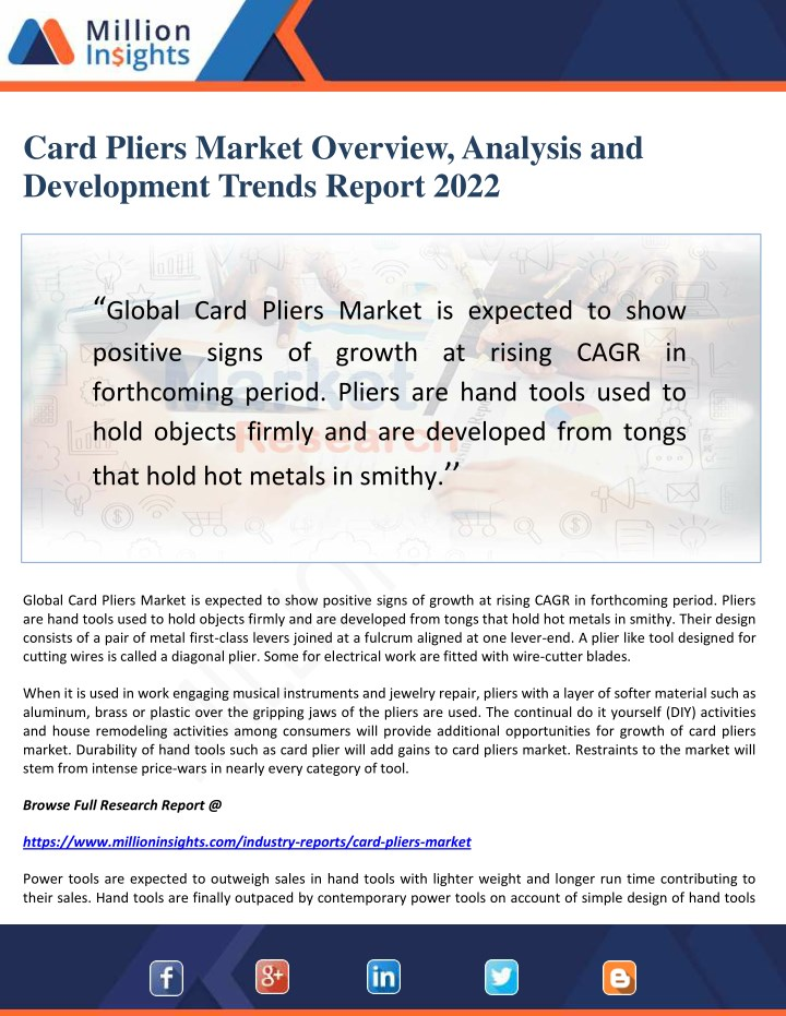 card pliers market overview analysis n.