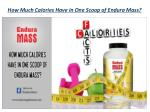 how much calories have in one scoop of endura mass