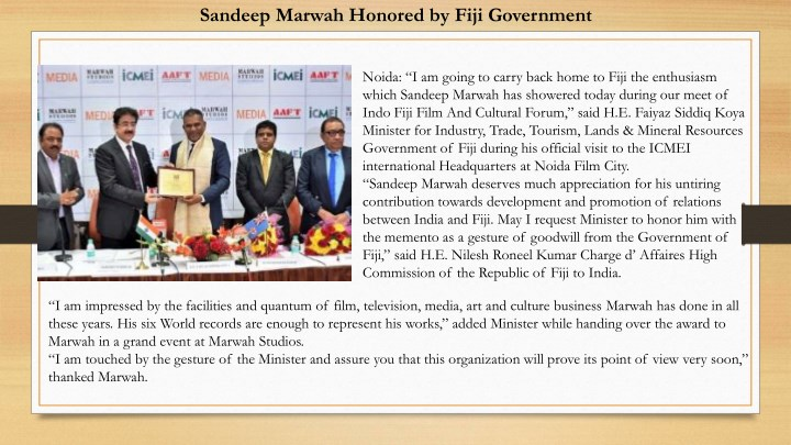 sandeep marwah honored by fiji government n.