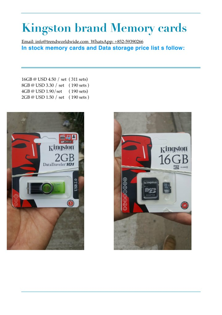 kingston brand memory cards n.