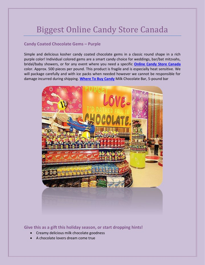 biggest online candy store canada n.
