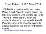 exam pattern of jee main 2018