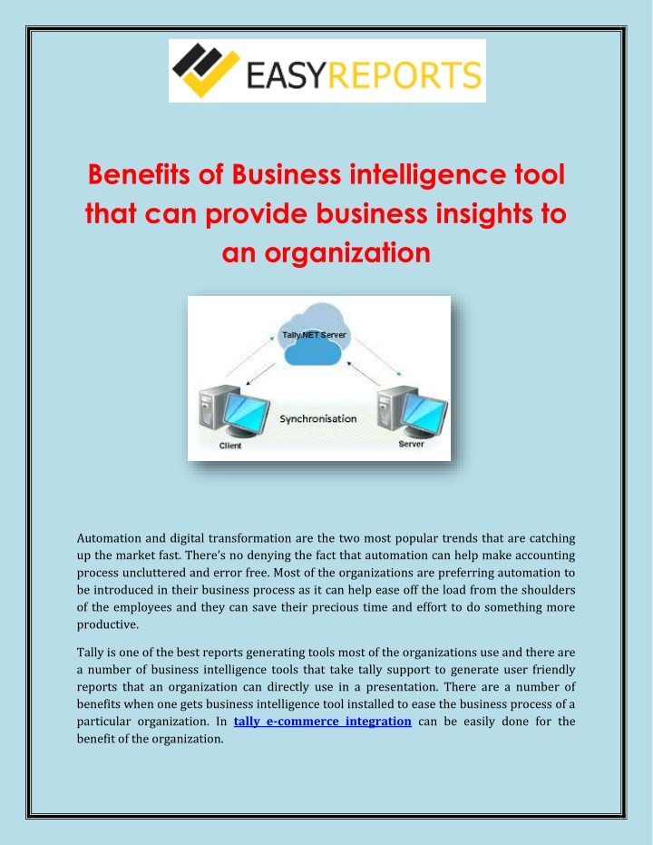 benefits of business intelligence tool that n.