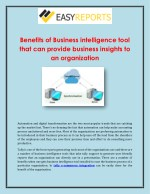 benefits of business intelligence tool that