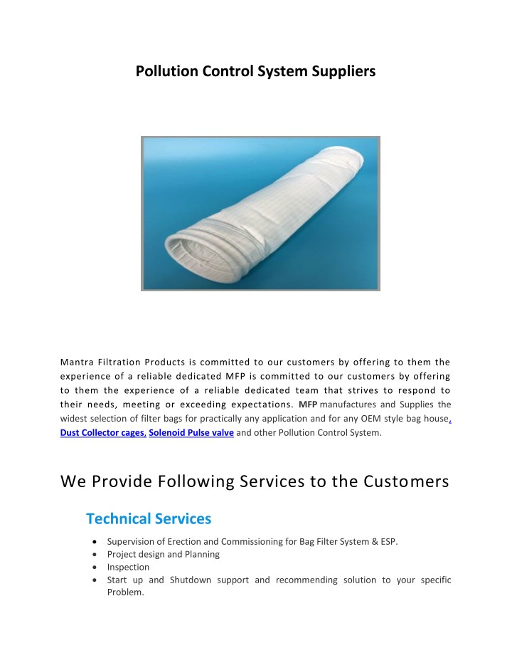 pollution control system suppliers n.