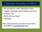 selection procedure at same