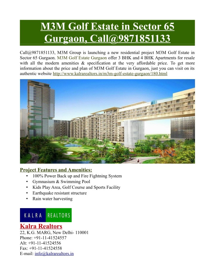 m3m golf estate in sector 65 gurgaon n.