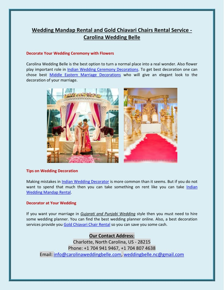 wedding mandap rental and gold chiavari chairs n.