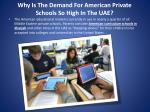 why is the demand for american private schools so high in the uae