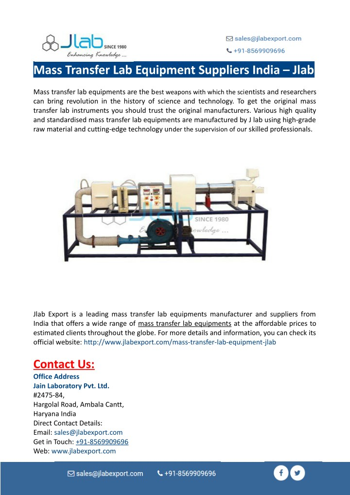 mass transfer lab equipment suppliers india jlab n.