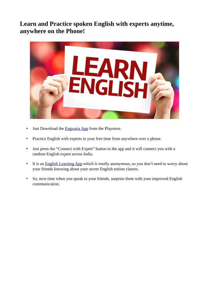 learn and practice spoken english with experts n.