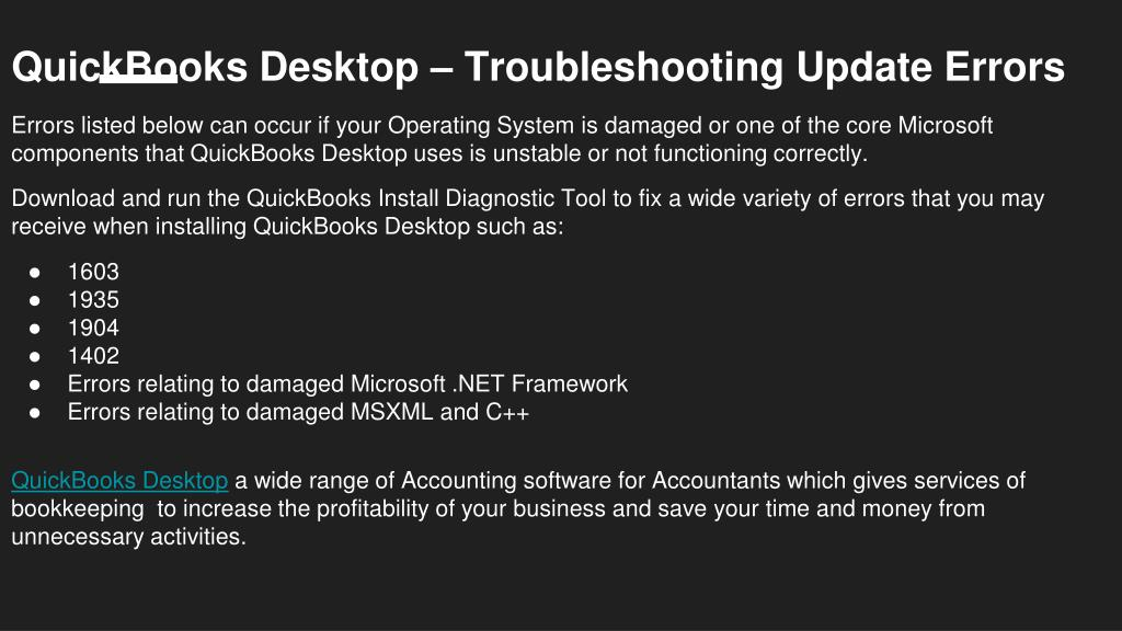 PPT - Troubleshooting QuickBooks Desktop Update Errors