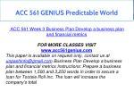 acc 561 genius predictable world 11