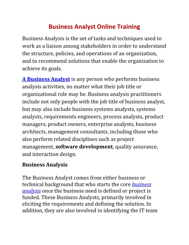 business analyst online training n.