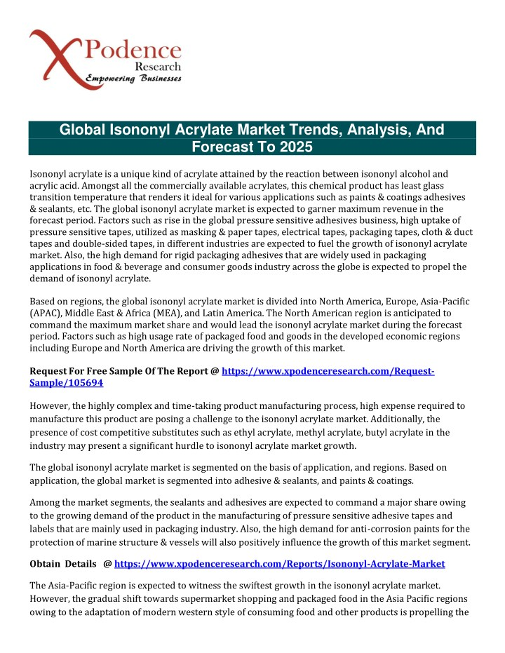global isononyl acrylate market trends analysis n.