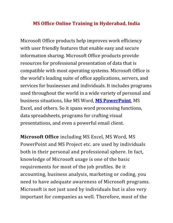 ms office online training in hyderabad india n.