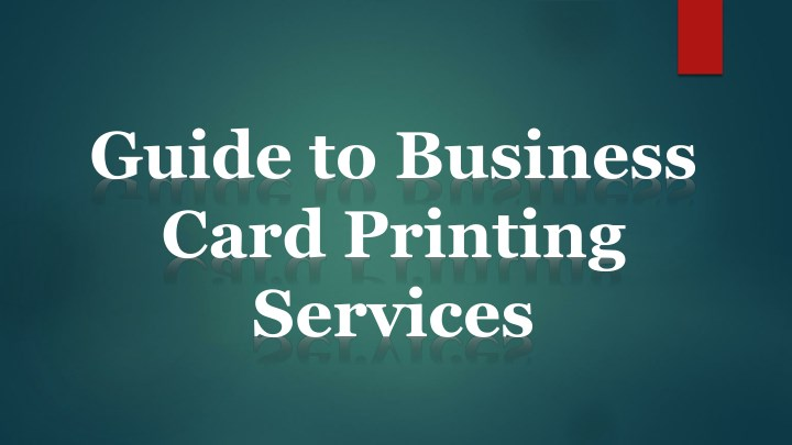 guide to business card printing services n.