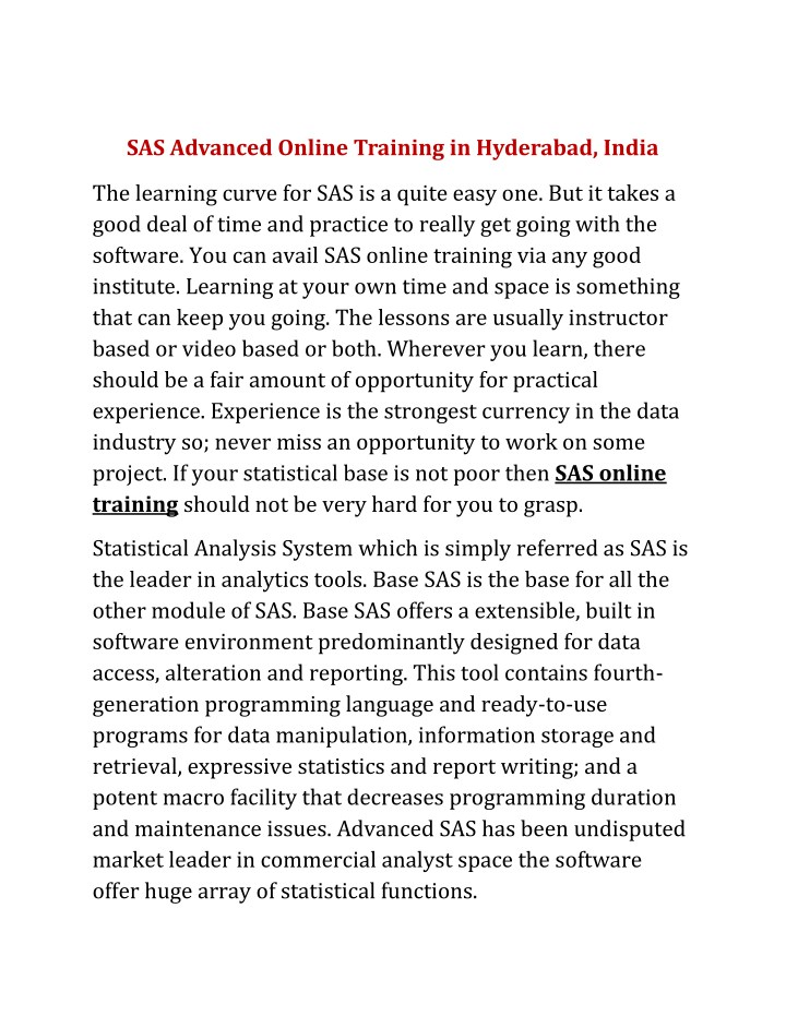 sas advanced online training in hyderabad india n.