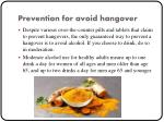 prevention for avoid hangover