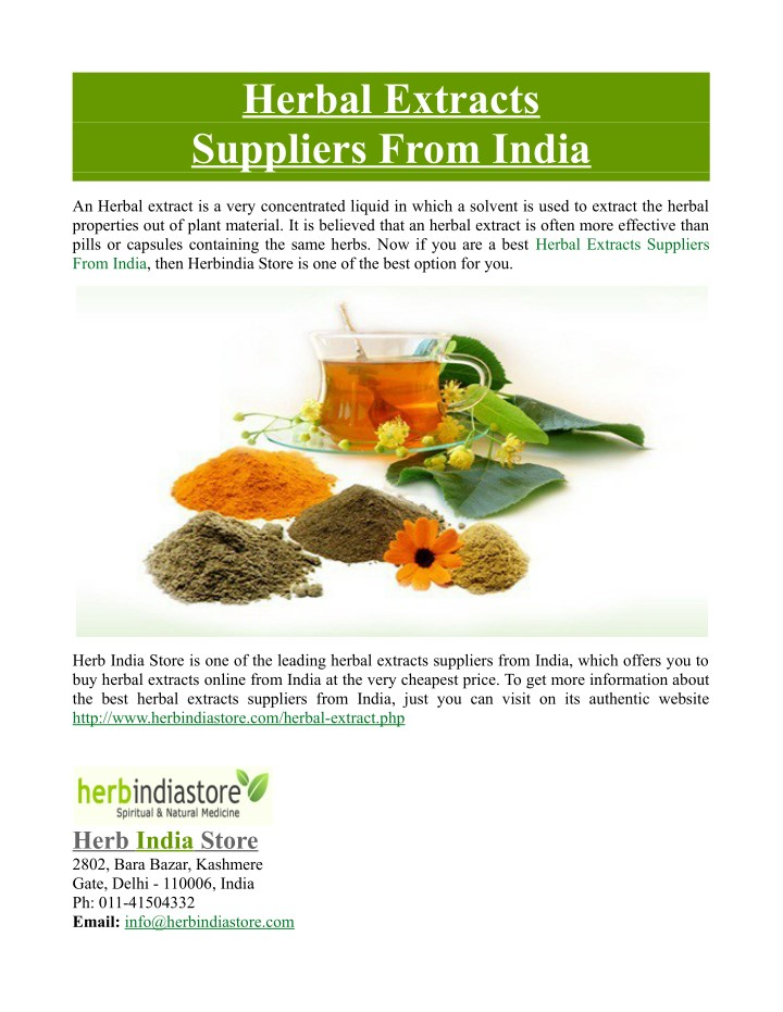 herbal extracts suppliers from india n.