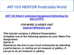 art 100 mentor predictable world 11