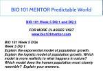 bio 101 mentor predictable world 14