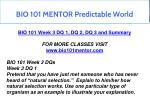 bio 101 mentor predictable world 7