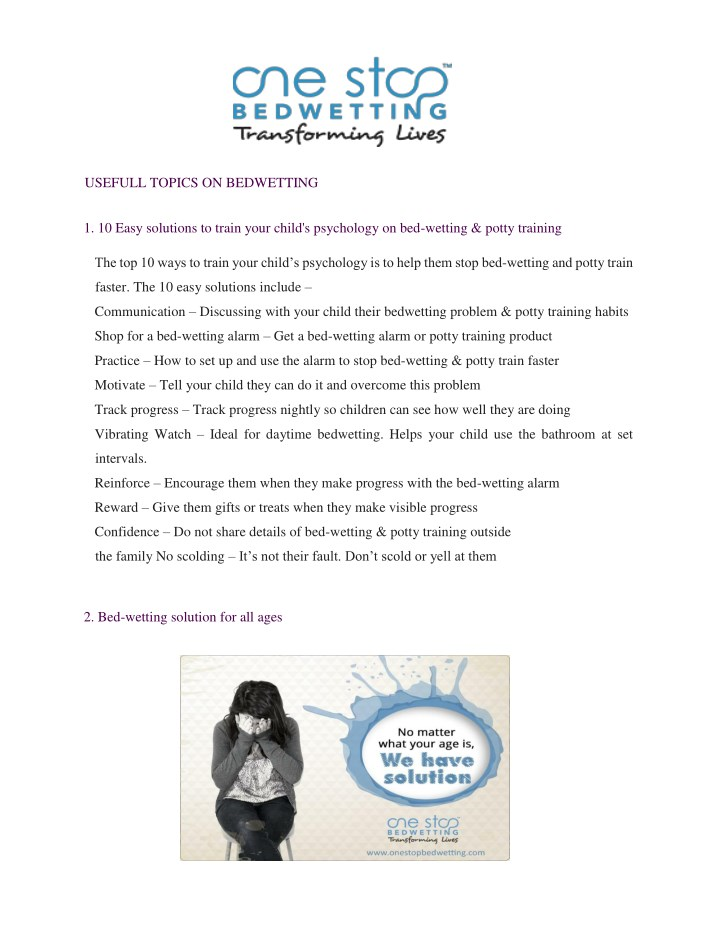 usefull topics on bedwetting 1 10 easy solutions n.