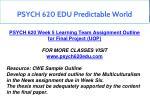 psych 620 edu predictable world 8