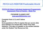 psych 625 mentor predictable world 16