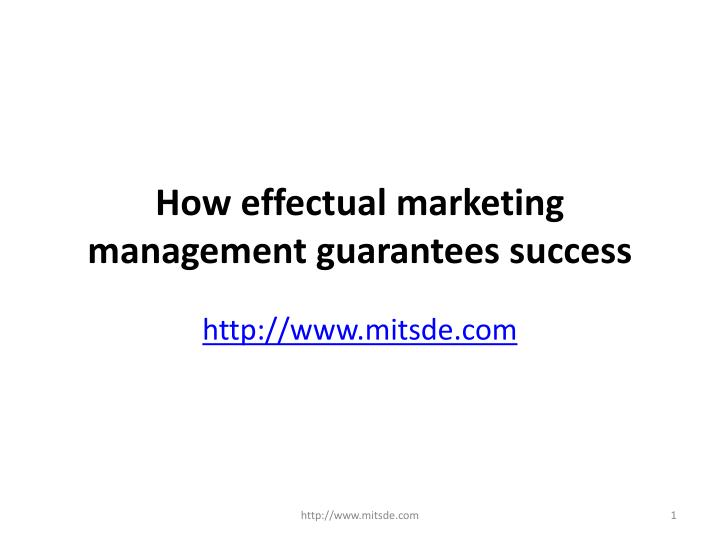 how effectual marketing management guarantees success n.