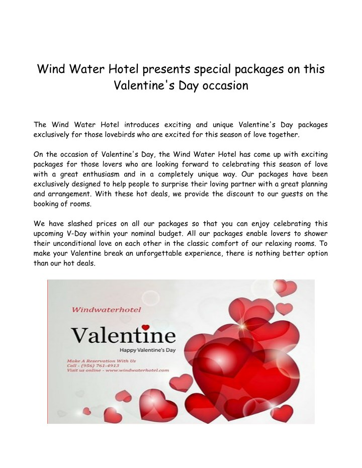 wind water hotel presents special packages n.