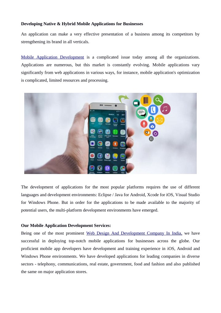 developing native hybrid mobile applications n.