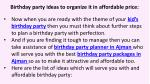 birthday party ideas to organize it in affordable price