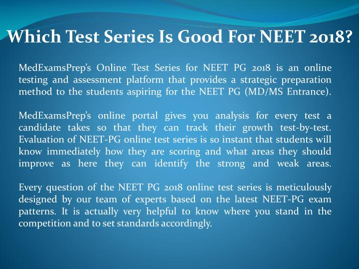 which test series is good for neet 2018 n.