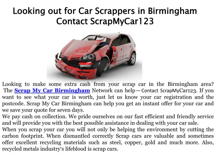 looking out for car scrappers in birmingham n.