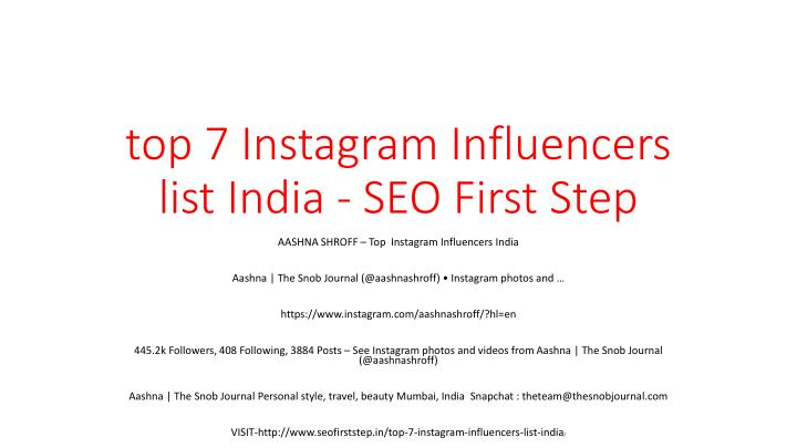top 7 instagram influencers list india seo first step n.
