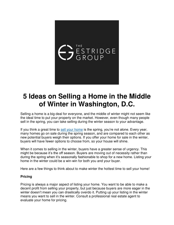 5 ideas on selling a home in the middle of winter n.